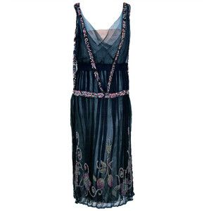 1920's Jeanne Paquin Colorful Beaded Silk-Tulle Flapper Dress