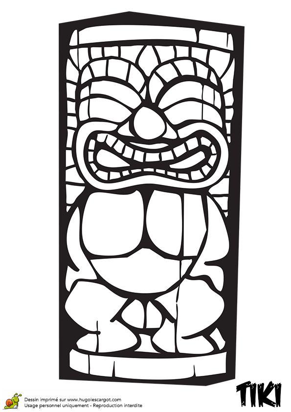 Dessin à colorier du Tiki très costaud qui sourit