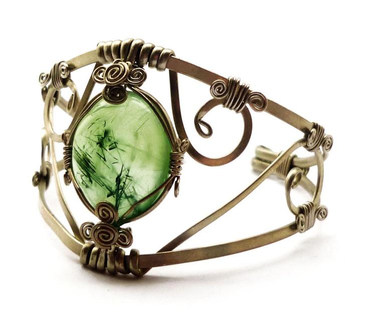 Cuff Bracelet with Prehnite stone