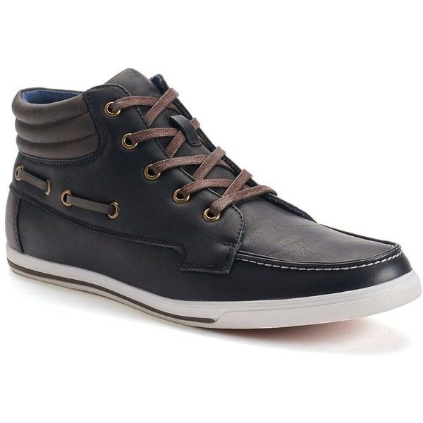 SONOMA Goods for Life™ Men's Mid Boat Shoes ($45) ❤ liked on Polyvore featuring men's fashion, men's shoes, men's loafers, black, mens sperry topsiders, mens boat shoes, mens shoes, mens black shoes and sperry top sider mens shoes