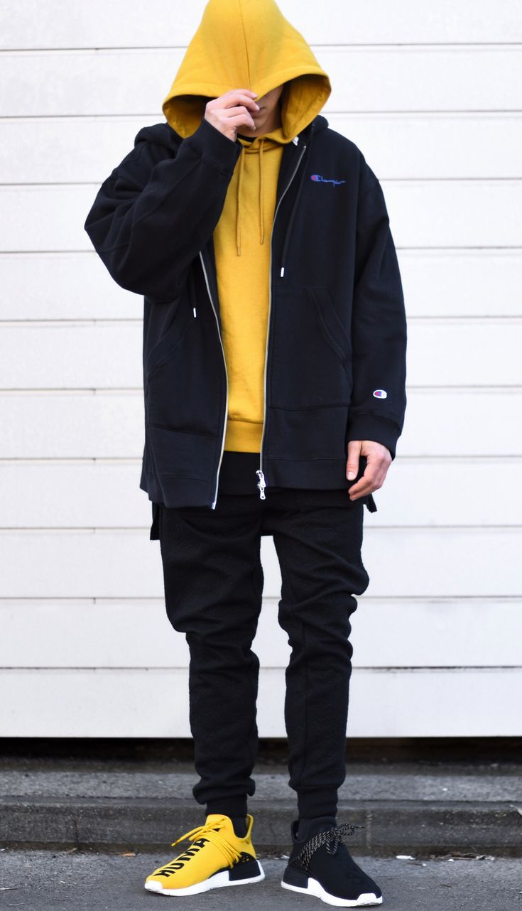 today im wearing a darkyellow hoodie by @asos, oversized hoodie by @champion x @weekday_stores, jogger by @iloveugly and shoes by @pharrell nmd hu. good day everyone :) --- Follow Me On Instagram As Well https://www.instagram.com/achmedlachned/ ---- #nmd