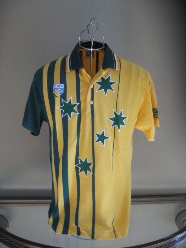 a7ad961229c Vintage Australian World Series Cricket Polo Shirt Yellow Green W Stars Sz  Med