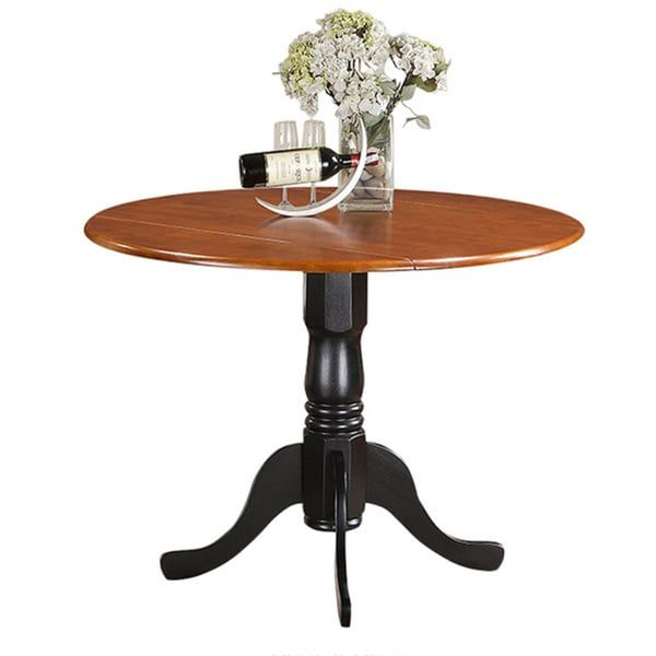 Laurel Creek Karter Round Table With Two 9 Inch Drop Leaves Overstock Com Shopping The Best Deals O Dining Table East West Furniture Kitchen Table Settings
