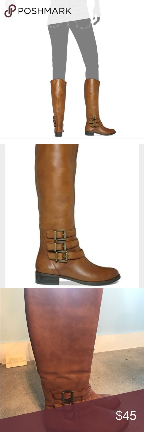 Francy wide calf boots Camel brown wide calf boots. In good condition. Worn only a handful of times. INC International Concepts Shoes