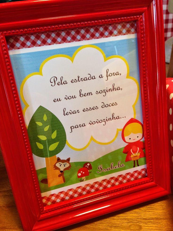 Quadrinho para decorar mesa | Festa de menina | Chapeuzinho Vermelho
