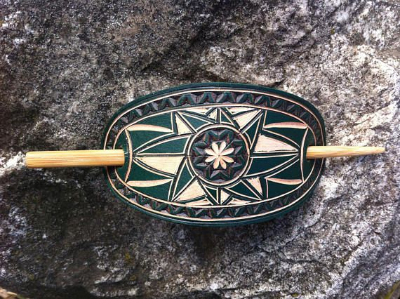 Green hand carved leather hair barrette  tooled leather