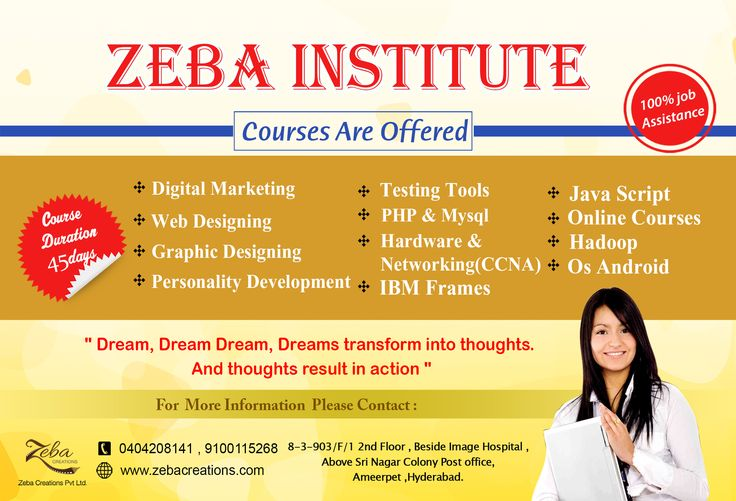 Take Admission in #Zeba Institute Today in #Ameerpet. Hurry up!!.....:) New Batches Started, Only few #Admissions left. #Request a #Meeting, Join #ZebaInstitute & Ensure better life with 100% Job Assistance. http://www.zebacreations.com/register.html
