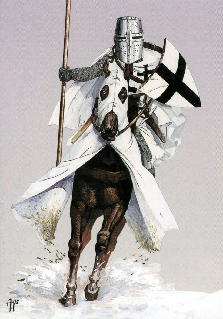 Teutonic Knight charging across the snow, Northern Crusade