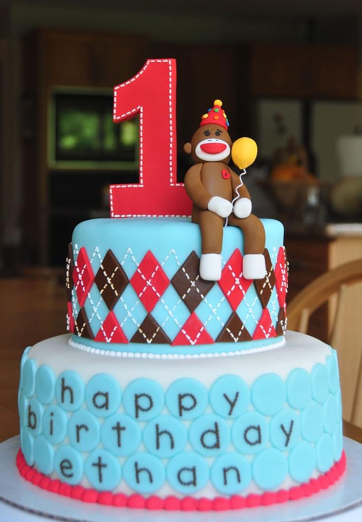 sock monkey 1st birthday cake (20120616)
