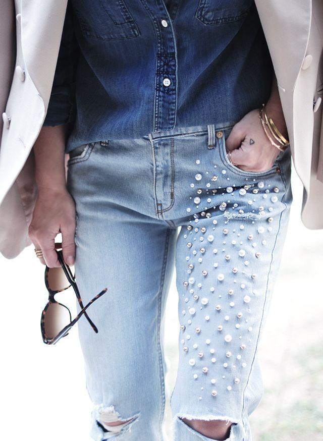 DIY: pearl embellished jeans