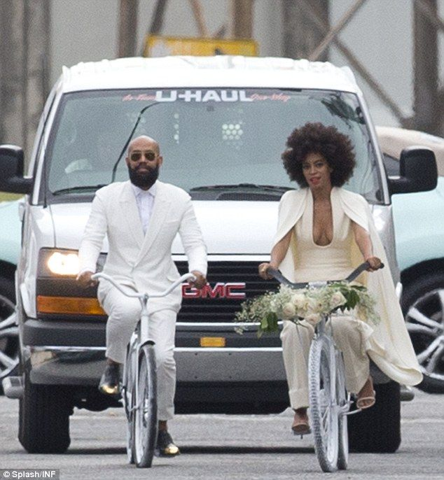 Breaking with tradition: Solange and her future husband Alan Ferguson were spotted riding ...