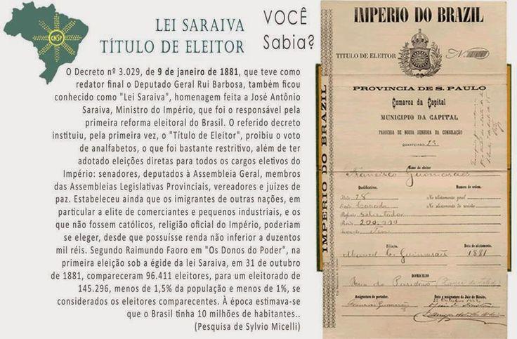 #CNSPNotícias - Você sabia? - 9 de janeiro de 2015 - A Lei Saraiva e o voto da burguesia ~ Jornalista Sylvio Micelli