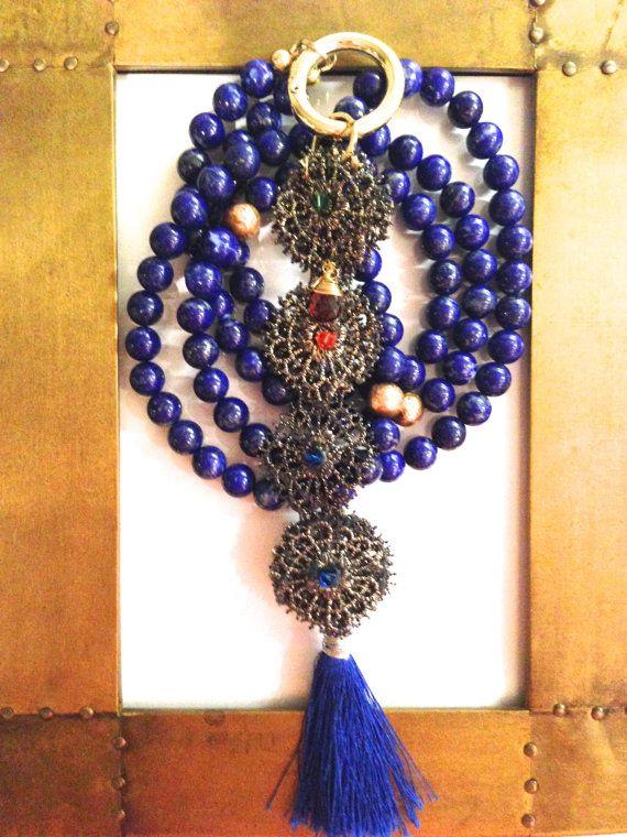 Sappho by Kim Smiley - Lapis Lazuli, Antique Copper Necklace with Metallic Lace, Garnet and Swarovski Reversible Pendant $625 - www.kimsmiley.com