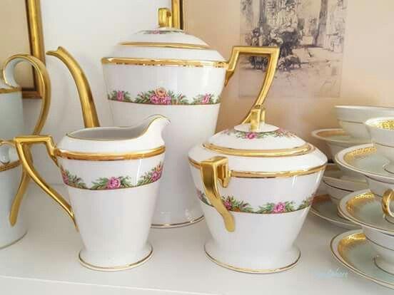 Servicio de café de porcelana de Limoges #porcelanaantigua