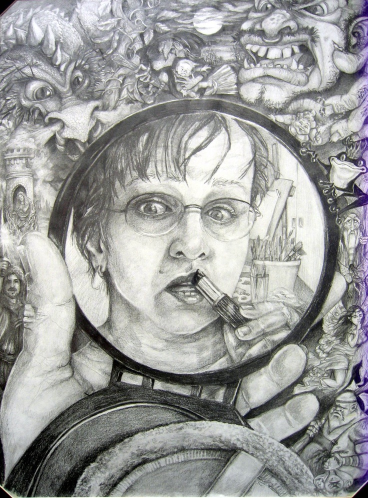 flying shoes art studio, reflective portrait