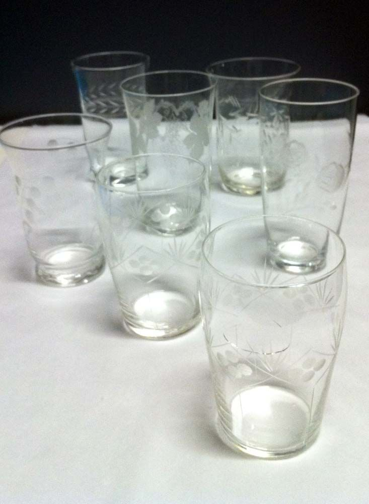 Plain etched glasses