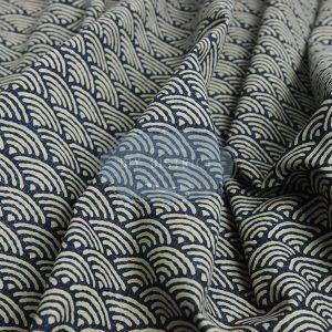 Tissus Japonais Seigaiha écru bleu marine