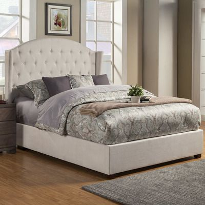 Alpine Furniture Ava Upholstered Platform Bed & Reviews | Wayfair This will be our NEW bed most likely!
