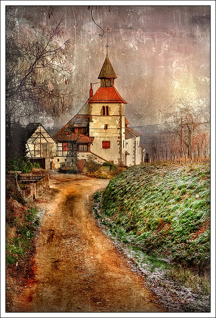 'Rainy Way' textured photo by Jean-Michel Priaux {Jim Pix}, Bas-Rhin, Alsace, France. {Tag: St. Sebastien Church}