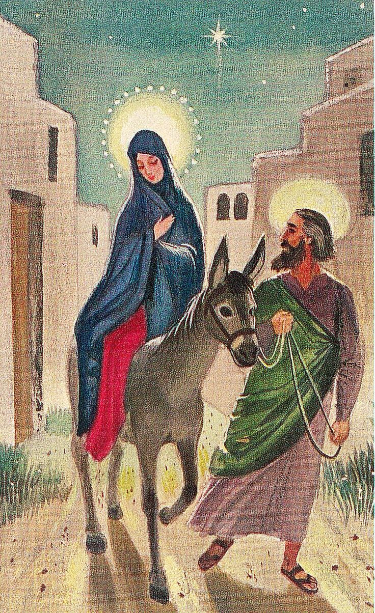 vintage joseph with mary on donkey christmas greeting card