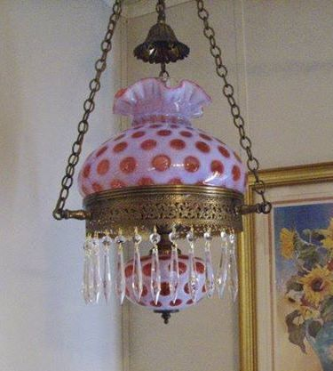 fenton cranberry dot swag lamp