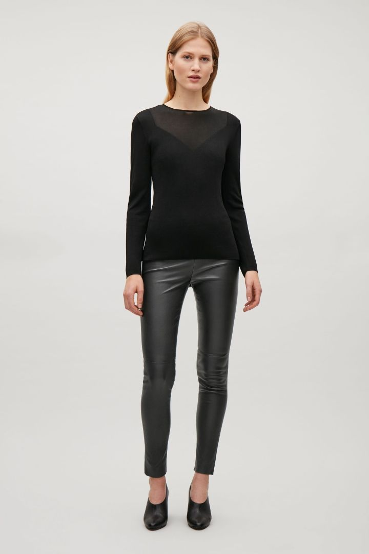COS image 1 of Slim-fit leather trousers in Black