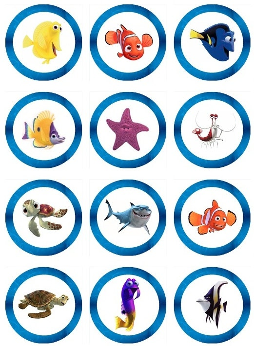 Edible FINDING NEMO Cupcake Toppers 12 edible images for Cupcakes, cookies, brownies or any dessert birthday
