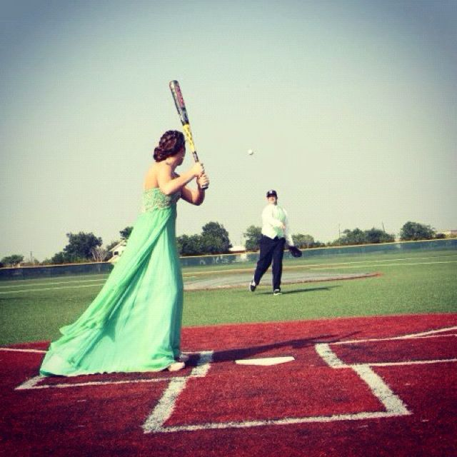 Baseball themed pics before prom!  I wish this was possible without getting my dress dirty!