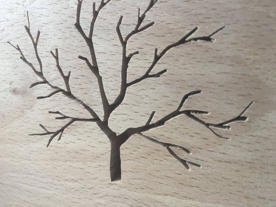 Wooden Beech Tree Silhouette Art by TheHairyScroller on Etsy