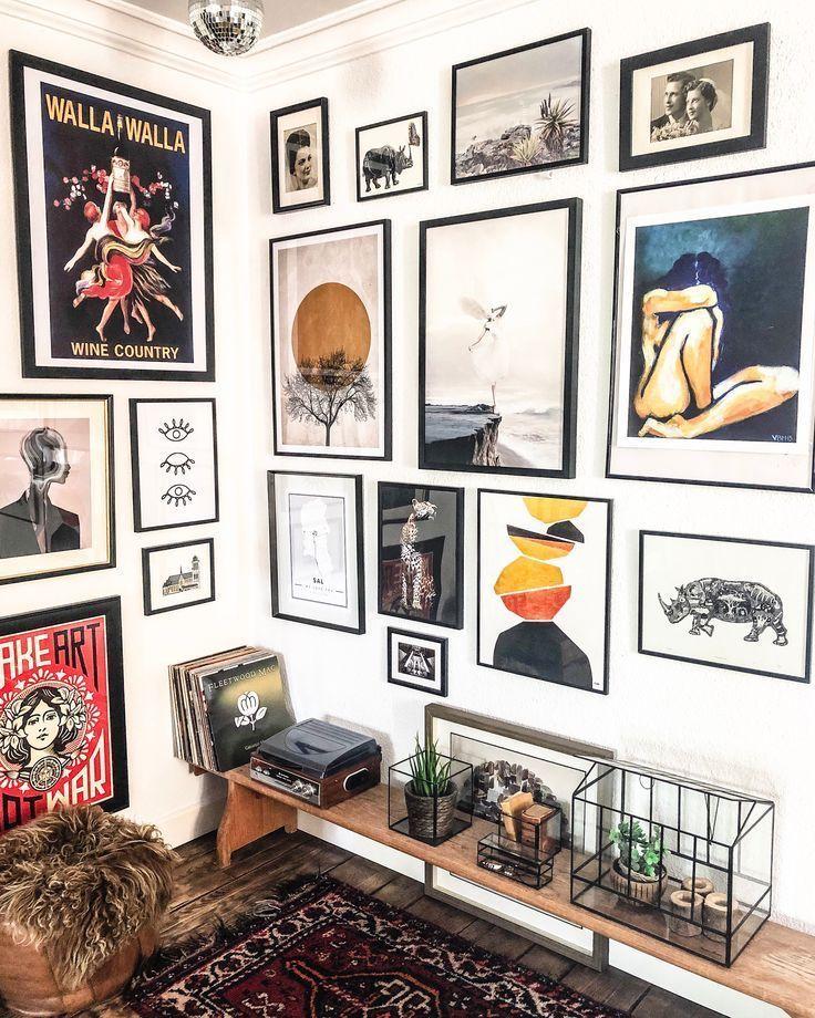 Interior Gallerywall Vardagsrum Diy In 2020 Eclectic Gallery Wall Gallery Wall Decor