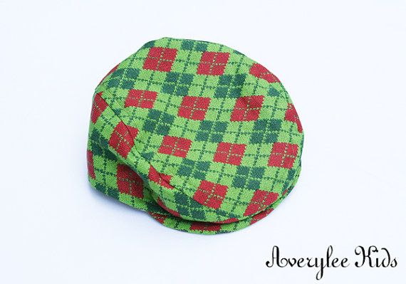 Boys Newsboy Style Christmas Hat, Red and Green Argyle, Newborn Christmas Outfit, Baby Boys, Toddler Boy, Holiday Fashions on Etsy, $22.00