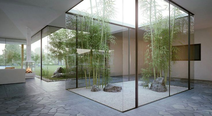 I don't like the plant choice or the sparseness of this atrium, but I like the floor to ceiling window. I would prefer something more naturey and thicker stone/wood pillars inbetween the glass, but this is a good ref to keep in mind nonetheless More