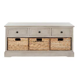 """Pine wood storage bench with 3 drawers and 3 removable woven wicker baskets.    Product: Storage benchConstruction Material: Pine wood and wickerColor: Vintage grey and naturalFeatures: Three drawersThree wicker baskets includedDimensions: 19.7"""" H x 42.1"""" W x 15.4"""" D"""
