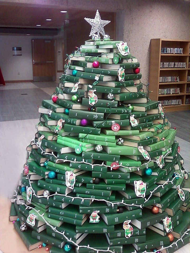 Library Christmas Trees Made Of Books And Bound Journals Christmas Tree Made Of Books Christmas Book Tree