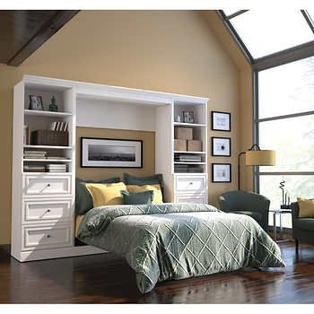 "Bestar Audrea Full Wall Bed with Two 25"" Storage Units and Drawers in White"