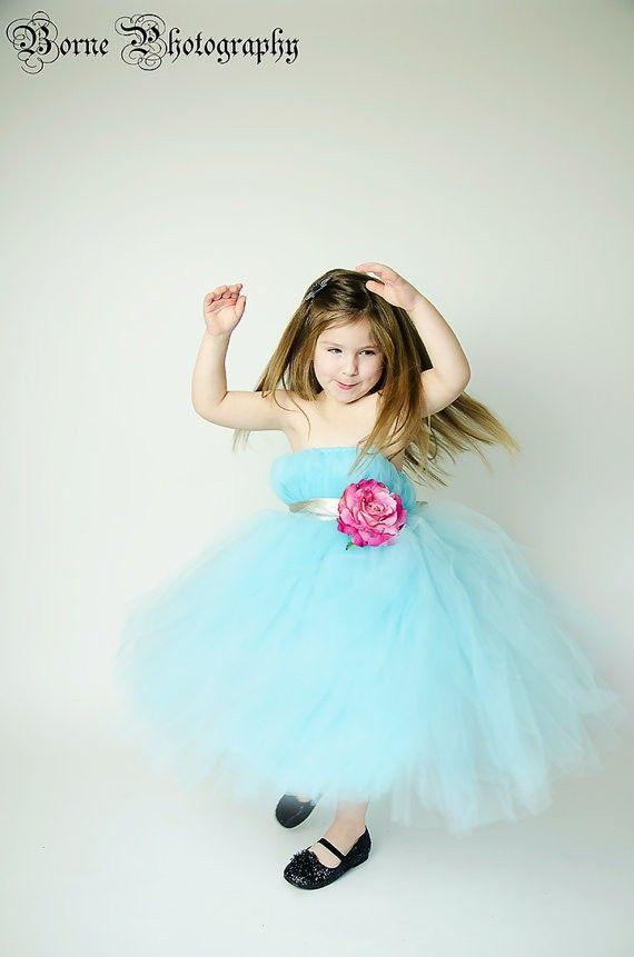 Цветок девочки платья голубой ручной работы цветок аква платья для девочек тюль аква голубой цветок девочки платья