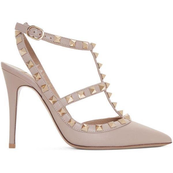 3f1da4421d8f Valentino Pink Valentino Garavani Suede Rockstud Cage Heels (£715) ❤ liked  on Polyvore