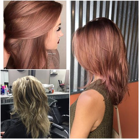 FORMULA, COLOR, and CUT by Angela Fitzgerald Beardsley  TOP LEFT - Inspiration BOTTOM LEFT - Before RIGHT - After  The formula was from Guy Tang. It's 8brm 10brm and a dash of 5vr. Then when I put the conditioner on I put magenta kenra color creative in it to spice it up a little his you tube video shows it all!