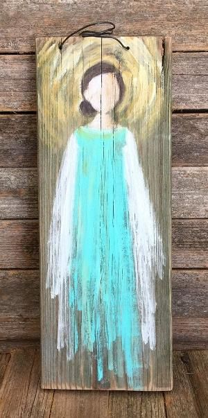 Hand Painted Angel on Reclaimed Wood by SusanHamnerArt on Etsy by wylene