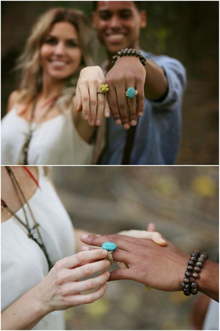 earthy bohemian wedding - boho wedding rings