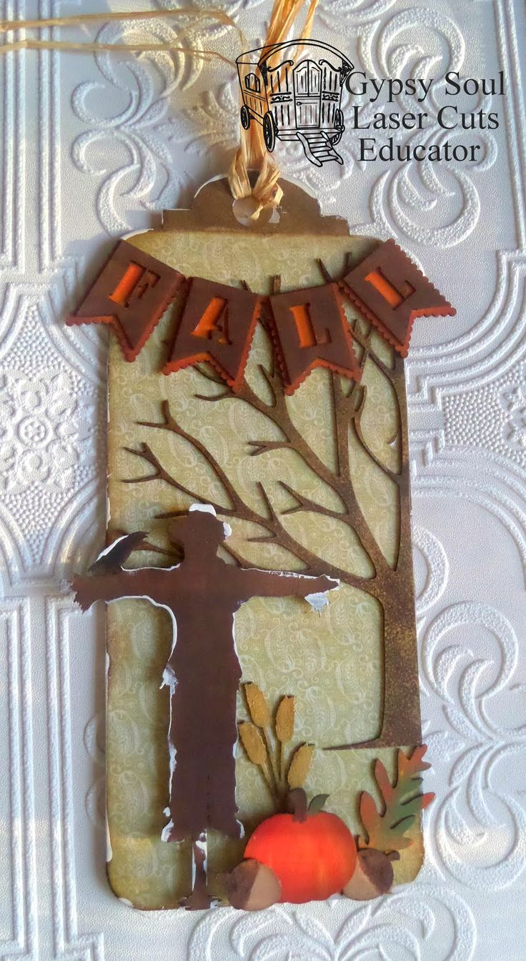 Good morning. For this project I made fall tags using the X-Large tags and the 3D Chipboard tree for the base of the tags. I covered the...