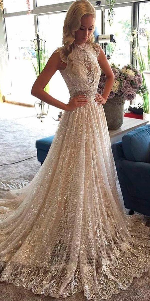Romantic A Line High Neck Wedding Dress Unique Lace Collection Bridal Dresses Beautiful High Neck Lace Wedding Dress High Neck Wedding Dress Wedding Dresses