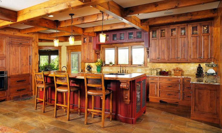 Wonderful Rustic Kitchen Cabinet Design Ideas With Wooden Bar Stools Feat Three Wooden Framed