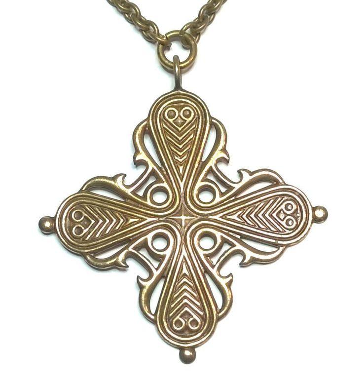 "KALEVALA KORU Vintage Bronze Necklace ""Räisälä Cross Crucifix"""