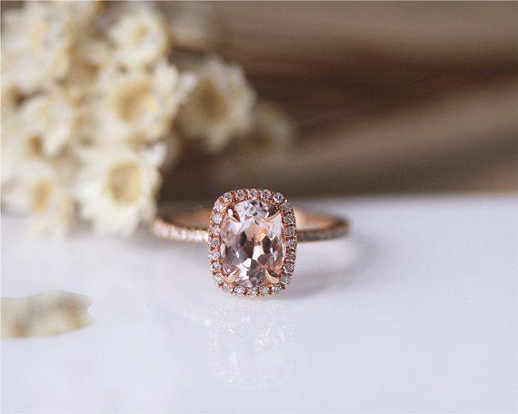 6x8mm ovalen Morganit Ring Solid 14K Rose Gold von JulianStudio
