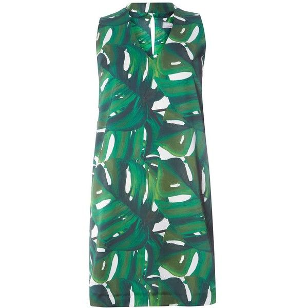 Dorothy Perkins Petite Green Leaf Shift Dress ($55) ❤ liked on Polyvore featuring dresses, green, petite, petite shift dress, petite dresses, sleeveless shift dress, green day dress and sleeveless dress