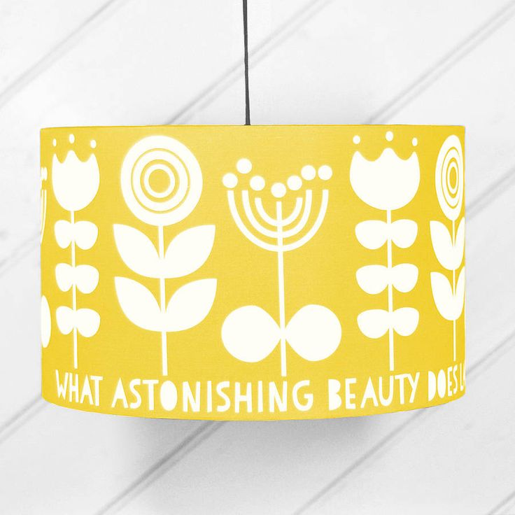 Scandi Flower Drum Lampshade In Yellow