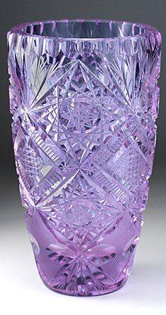 Value of Antique Crystal Vases | ALEXANDRITE CUT CRYSTAL VASE, POSSIBLY EGERMANN