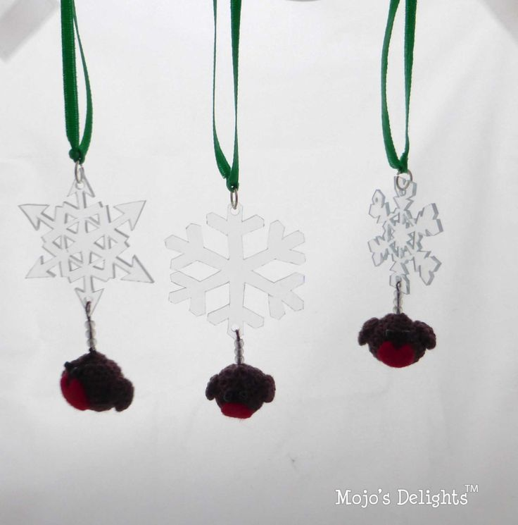 Snowflake and Robin - Tree Decorations by MojosDelights on Etsy