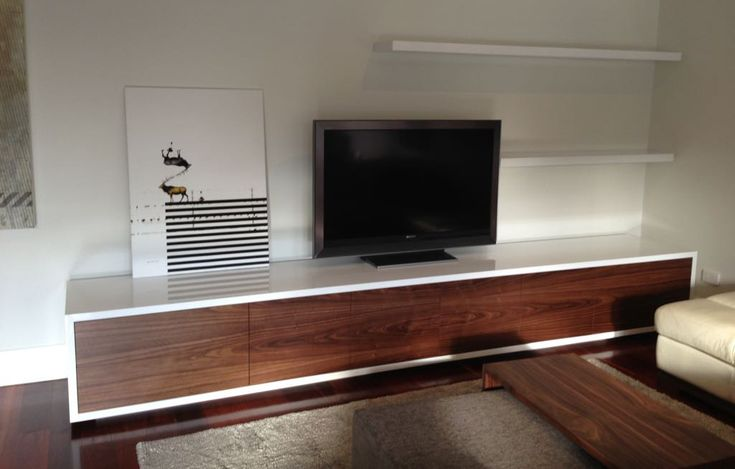 Venus Lowline TV Unit. Custom made to size in your choice of timber veneer and lacquer. WA made and designed can also be made into a floating wall unit or built in.
